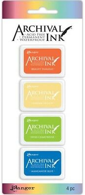 Ranger Archival Ink Mini Pads Kit #3 4pc Acid Free Dye Ink Permanent
