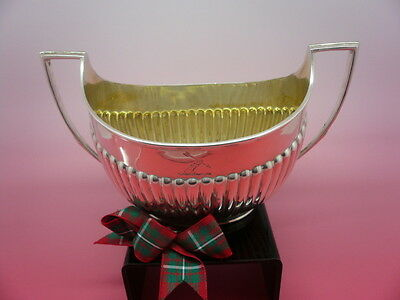 Solid Silver Sugar Bowl, Sterling, English, Antique, CRESTED, Hallmarked 1897