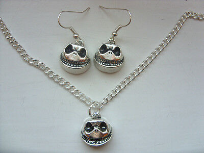 Handmade Silver Nightmare Before Christmas Jack Skellington Necklace & Earrings