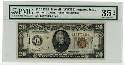 1934A $20 Hawaii Emergency Note PMG 35 EPQ FR #2305