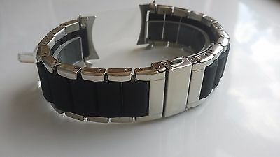 Mens Accurist Watch Stainless Steel/Rubber Bracelet Strap Buckle Curved End 24mm
