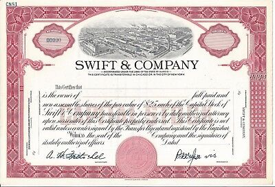 "Swift & Company.......abn ""specimen"" Common Stock Certificate"