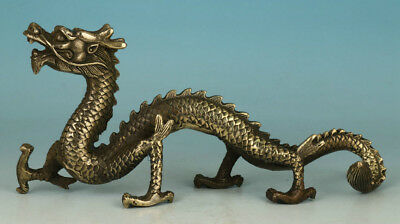 Chinese Old Brass Handmade Carved Dragon Figure Statue Decoration