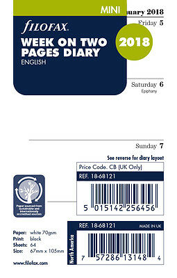 Filofax Mini Size 2018 Week To View (On 2 Pages) Diary Insert Refill 18-68121