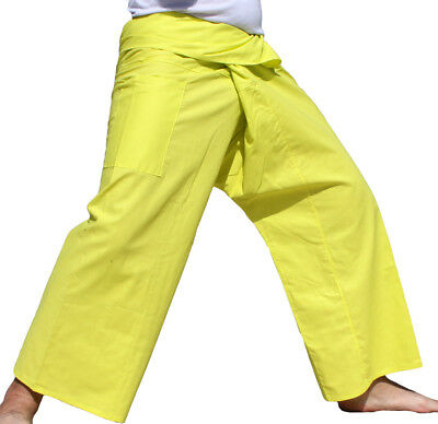 Pants Thin Cotton Long Yoga Thai Comfy Casual In Fluorescent yellow sz M (Tall)