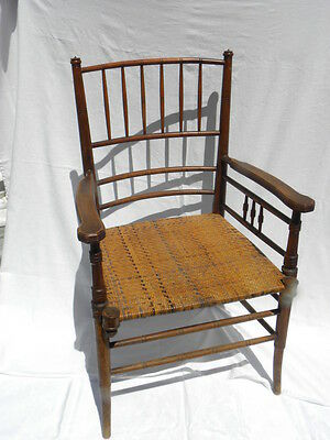 Antique Victorian Turned Wood Side Chair with Cane Seat