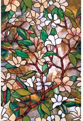 ArtScape No Adhesive Stained Glass Flower Home Window Film Decor UV Protect