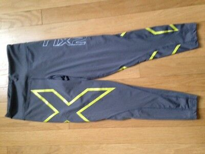 2XU Women's Mid-Rise Compression Tights 7/8 Length Gray/Lime