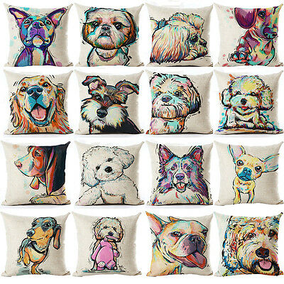 Dog Puppy Animal Retro Art Throw Cushion Pillow Cover 45cm Gift - All Breeds