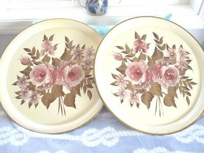 Pair Hand Painted Off White Mid Century Modern Pilgrim Art Pink Roses Tole Trays