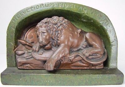 Antique LION OF LUCERNE Cast Iron Doorstop Bookend figural high relief ornate