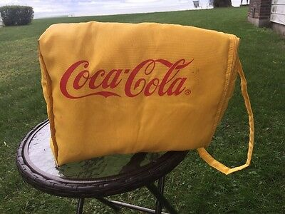 """COCA-COLA Insulated Nylon Bag vintage YELLOW with RED LETTERING 13""""x9""""x6"""""""