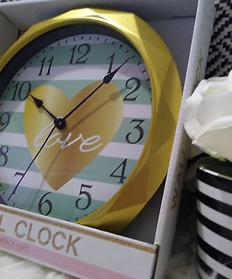 Gold frame Teal/White chevron Background NWT Clock Teen/College/Young Adult
