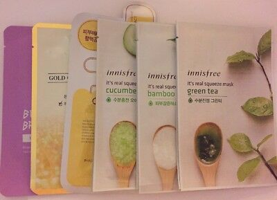New! Lot Of 9 pc Mask Single Packed:2 SNP+Mediheal+6 Innisfree