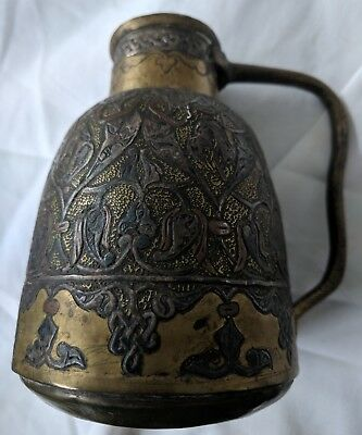 Unusual Early Antique Cairoware Syrian Brass  Inlay Silver & Copper. Jug No Res