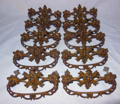 Vintage Solid Brass Drawer Pulls Matched Set of 10 Ornate Early 1900s