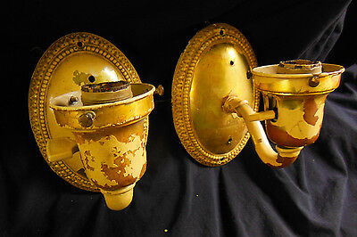 Antique Solid Brass Wall Sconces Matching Pair
