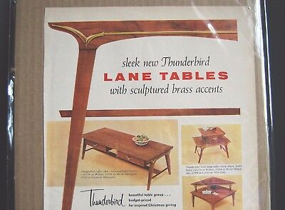 Mid Century Modern Furniture Vintage Ad MCM Lane Table Print Color Original 1956