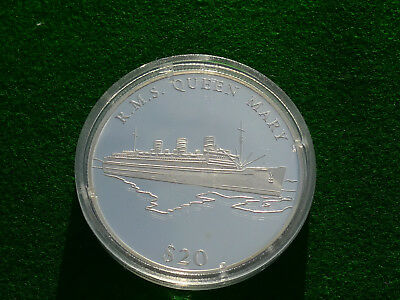 Liberia 20 Dollar 2000  Queen Mary   Silber PP