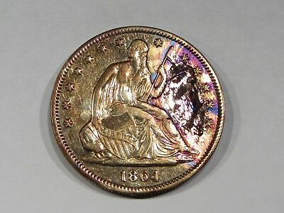 1864 Liberty Seated Silver Half Dollar AU Details   #1111s64LSH