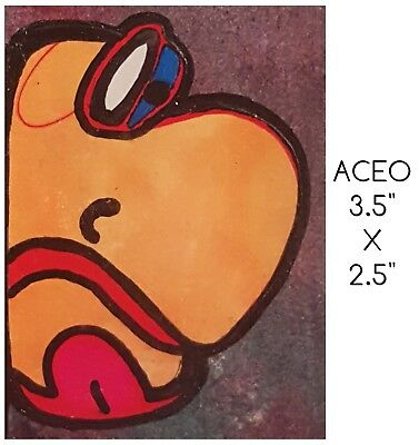 Aceo Bipolar Brut Art Marci Del Mastro Outsider Naive Ooak Abstract  Portrait