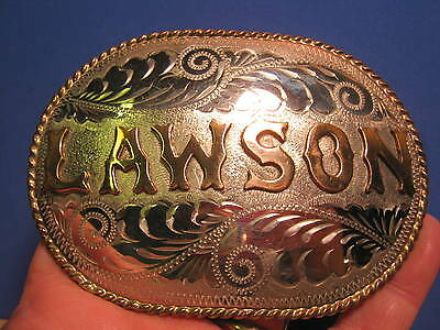 Beautiful ~LAWSON~Belt Buckle by R&R Nickel Silver Hand Engraved MAKE OFFER