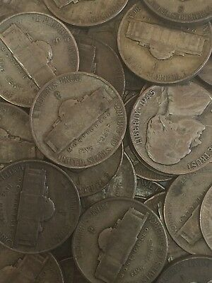 "Jefferson ""War"" Silver Nickels  1942-1945   Full 40 Coin Roll  #1"