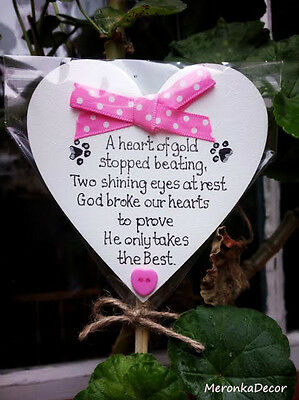 PET MEMORIAL-Personalised Dog-Cat Outdoor, Waterproof Grave Stick Plaque-Pink