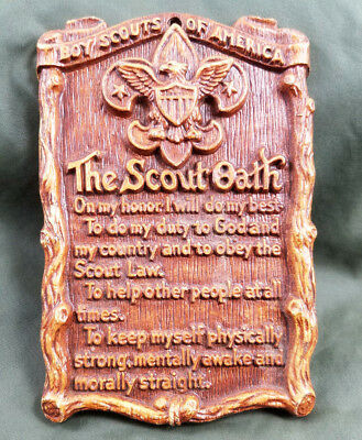 Vintage Boy Scouts Of America Bsa Scout Oath Motto Eagle Logo Wall Plaque Resin