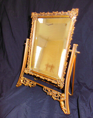 Antique Brass Mirror Boudoir Vanity Table Top Swivel Stand Putti Ornate Beveled