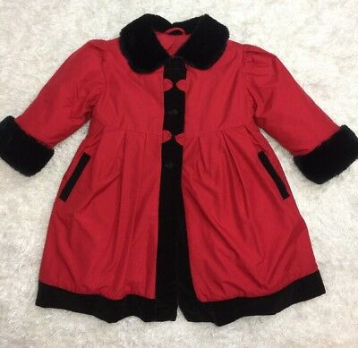 Vintage Children's Coat Size 4 Rothschild Girls Coat Red Black Fur Down Filled