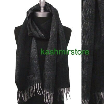 New Men's 100%CASHMERE SCARF Scotland Warm Wool Soft Wrap Tweed Black / Gray