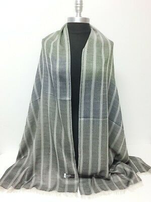 100% CASHMERE SCARF Wrap Scotland Tweed Stripe Black purple brown gray blue plum
