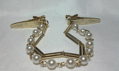 Vintage Estate Gold Double Strand Faux Pearl Gold Rod Sweater Guard Clip