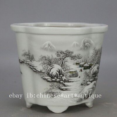 China old hand-carved porcelain white  glaze snowscape pattern flowerpot