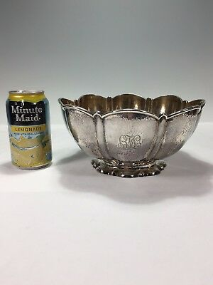 Large Arts & Crafts Gilt Sterling Hammered Bowl Gorham 1898 Spaulding Chicago