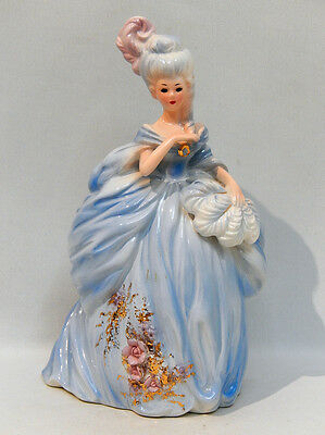 Vintage Josef Originals Large LADY IN BLUE GOWN with OSTRICH FEATHER FAN - Mint