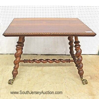 Antique Victorian Brass Paw Foot Barley Twist Parlor Table in Origina... Lot 121