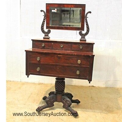 Antique Federal Mahogany Paw Foot Dresser with Beveled Mirror Lot 114