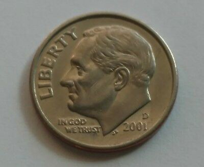 2001 D Roosevelt Dime No Reeded Edge 100% NOT PMD 2.2 Grams