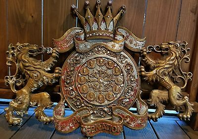 """RARE VTG CAST ALUMINUM JEWELED CREST COAT OF ARMS LIONS HEADS OF STATE 29""""x21"""""""