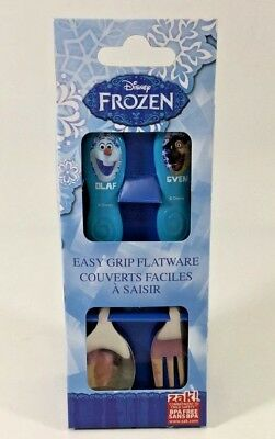 Disney Frozen Kids Easy Grip Flatware Spoon & Fork  . Olaf & Sven Zak Designs
