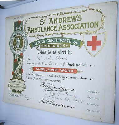 1902 Red Cross St Andrews Ambulance Assoc Proficiency Certificate Fine Condition
