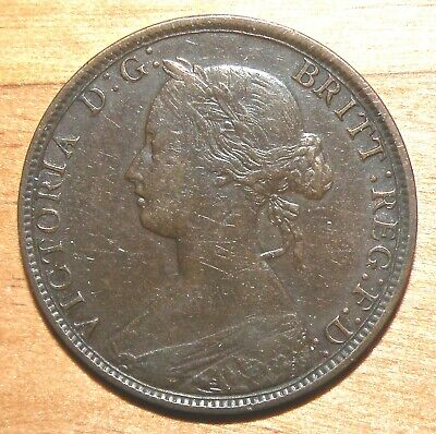 Great Britain 1/2 Penny, 1862 High Grade Antique Bronze Coin Lot Queen Victoria