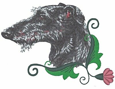 Scottish Deerhound Canvas Book Bag Purple Embroidery Head with Thistle