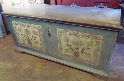 Rare 1784 Painted Decorated Dowers Chest Signed Christian Seltzer Pennsylvania