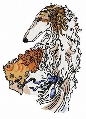 borzoi Grommet Hand Towel  Forest Green  Embroidered Head