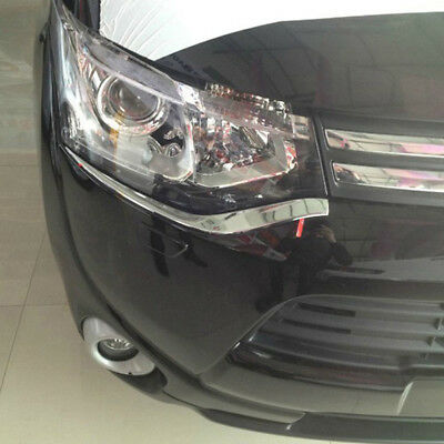 Chrome Front Headlight Eyelid Cover Trim For Mitsubishi Outlander 2013 2014 2015