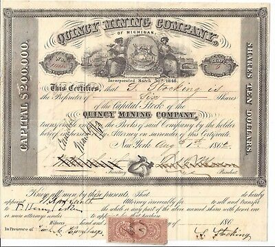 Quincy Mining Company (Michigan).......1862 Stock Certificate