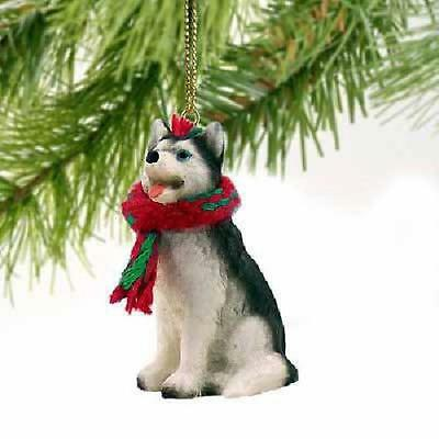 Siberian Husky Black And White With Blue Eyes Miniature Ornament